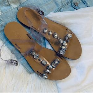91e3cb53113e J. Crew Shoes - J CREW jeweled clear plastic t-strap sandals